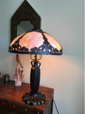 SKU14 Slag glass lamps for sale 1900's early Bradley and Hubbard style