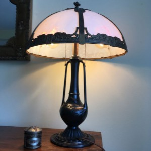 SKU18 1920's Bamboo base slag glass Lamp