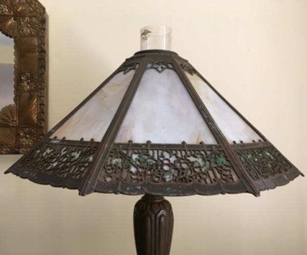SKU22 Circa 1890's GAS slag glass lamp for sale