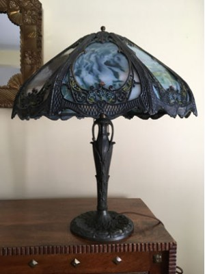 SKU23 Circa 1900's 8 panel slag glass lamp for sale