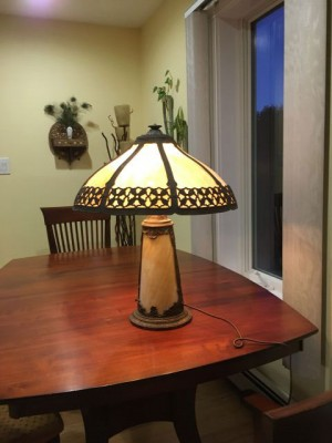 SKU24 Lighted slag glass base lamp Circa 1915 - 10 panels