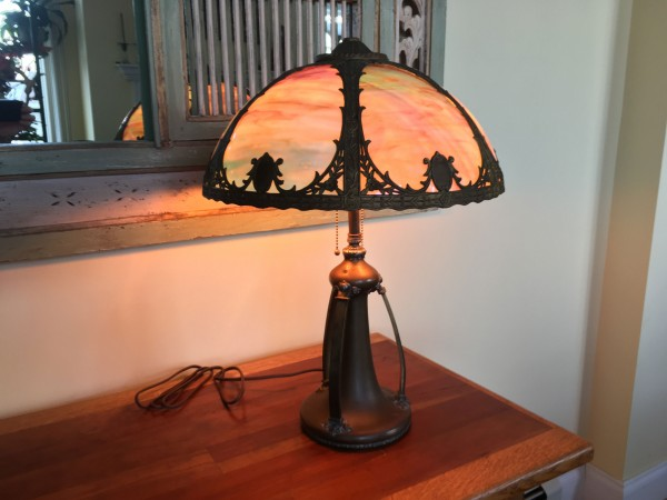 SKU27  Metal Brass-Copper-slag glass lamp for sale FOR SALE Circa 1930's 6 panels