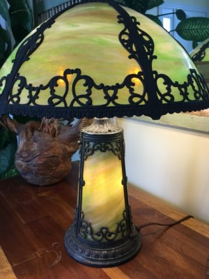 "SKU30 Slag glass lamps for sale ""Lighted Lamp Base"" Circa 1920's"