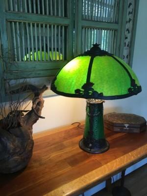 "SKU31 Restored slag glass lamp for sale ""Lighted Lamp Base"" Circa 1920's"